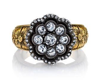 Edwardian Vintage 18 Karat Yellow Gold Diamond Ring
