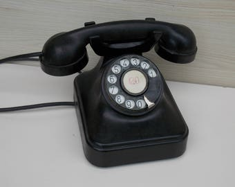 Vintage rotary classic black telephone, 1958 rotary telephone, black telephone, cool phone, home decor, classic telephone