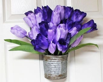 Purple Tulip Rustic Hanging Bucket, Tulip Door Decor, Shades of Purple Door Hanger