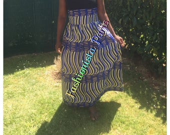 Skirt long ethnic pattern wax