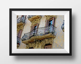 Gorgeous Spanish Architecture | Catalonia Spain | Spain Photo | Fine Art Photo | Downtown Barcelona | Image File (Digital Download)