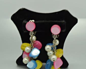 Summer Time Fun Pastel and Pearl Drippy Bead Earrings