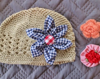 Toddler Knit Beanie Kufi Hat with Assorted Hair Bow Clips