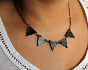 Black leather bunting necklace- geometric necklace - upcycled leather necklace- triangle necklace - leather statement necklace