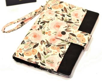 ANTI RFID protection | Family passport holder | Travel case | Boarding pass | 4 - 8 passeports | Flowers pink