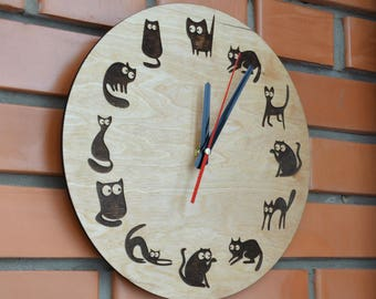 Cat Wall Clock Wooden Unique Rustic Round Housewarming New Home decor Living Room Gift for Teen Girlfriend Mom Cat lover gift