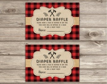 Diaper Raffle Lumberjack Baby Shower Boy Buffalo Plaid Card Insert 2337