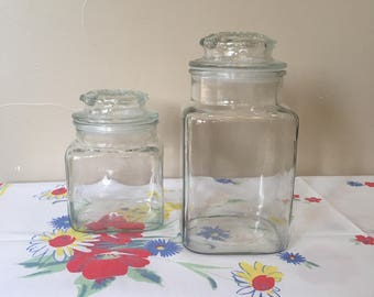 Apothecary Jars (2) 1 large and 1 medium, Vintage 1970s Era Anchor Hocking, Square Glass Apothecary Jars, Excellent Condition