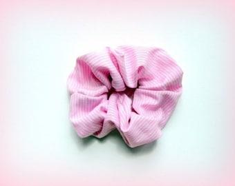Pink white striped scrunchie handmade unique designer