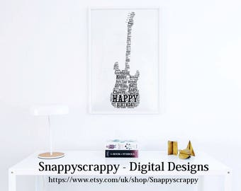 Guitar Birthday Typography, Guitar Birthday Word Art.   Print Your Own,  Instant Download
