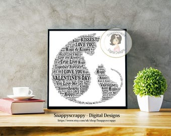 Valentines Cat Typography, Cat Word Art, Cat Valentine Wordart,   Print Your Own.   Instant Download