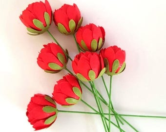 Red Paper roses / Red paper poppies / red paper flowers / small red paper flowers / red paper buds / red paper peonies
