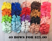 Hair bows, Little Girl Bows, Little Girl Hair Bows,Baby Hair Bows, 40 Bow Bundle