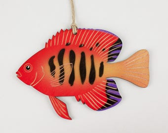 Fire Angelfish Christmas Ornament