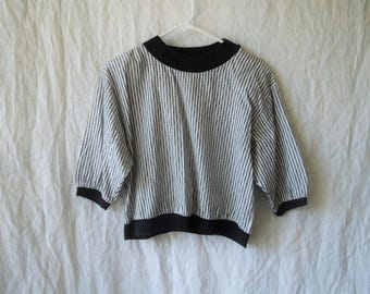 80s Black and White Striped Knit Sweatshirt