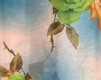 Chiffon Big Flower Print (Green and Ivory)