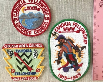Three Vintage Boy Scout Patches.  Assortment of Patches from 1960 1962 and 1965.   All are Unused and in Excellent Cond Chicago Area Council