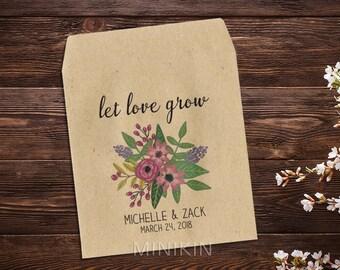 Wedding Seed Packet, Rustic Wedding, Custom Seed Packets, Pink Flowers, Personalized Favor, Custom Seed Wedding Favor, Wedding Favor x 25