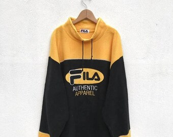 20% OFF Vintage Fila Big Logo Fleece Pullover/Fila Sweater/Casual Clothing/Fila Sport Sweater/Fila Italia/Fila Crewneck
