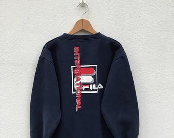 20% OFF Vintage Fila Big Logo Sweatshirt/Fila Sweater/Casual Clothing/Fila Sport Sweater/Fila Italia