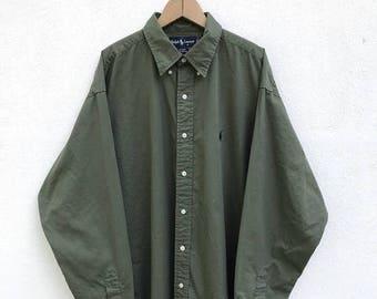 20% OFF Vintage Polo Ralph Lauren Small Pony Long Sleeve Button Down Shirt / Ralph Lauren Clothing / Polo Sport / Rl 67