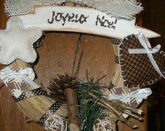 Christmas Wreath handmade hay and 20 cm felt
