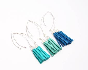 electric blue leather tassel earrings, silver plated