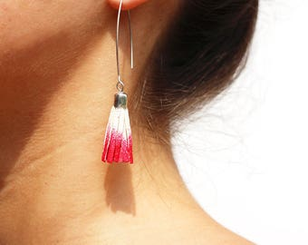 Christmas gift woman - red and white tie-dye leather tassel earrings, silver plated