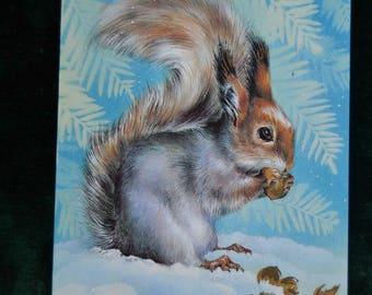 Vintage Soviet used postcard, Squirrel, winter postcard, winter  illustration, collectible paper, USSR postcard