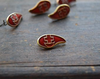 Lot of 5 Soviet tiny blood donor pins, Vintage red cross blood donor, Red enamel blood donor drop pin, Made in USSR