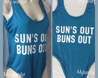 Womens One Piece Sun's Out BUNS OUT bodysuit Slogan, Body Suit top 1 Piece wear as Bathing suit bikini Swim wear Size 10 Large pool party