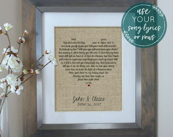 Valentines Day Gift for Husband, Wedding Gift, Wedding Song Lyrics, Anniversary Gift, Song Lyrics, First Dance Lyrics, Valentines Day Gift