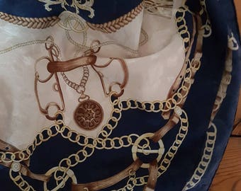 Vintage Blu di  Renato Balestra silk scarf Blue golden Chains Belts Saddle made in italy