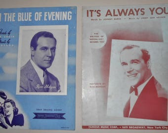 1941 1942 Sheet Music - 2 Pieces ~ In The Blue of Evening & It's Always You ~ Russ Morgan