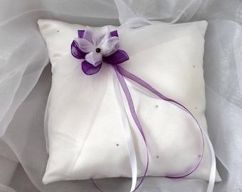 Wedding ring pillow wedding pillow, white (or ivory), rhinestones and purple