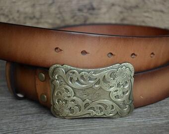 Mens Leather Belt/Top Grain/Durable Cowskin Belt/Brown