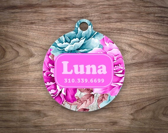 Pet id Tag Dog Tags Dog ID Tag Pet ID Cat Dog Tag Pet id Tag Pet Gift Pet Tags Floral Dog Tag for Dogs Dog id Tag Custom Pet id Tag