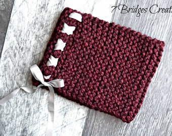 Handmade Soft Knit Burgundy Infinity with Gray Ribbon Accent/women's scarf/cowl/infinity/neck wrap