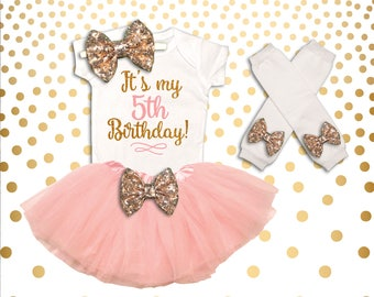 5th Birthday Outfit Girl Pink and Gold 5th Birthday Tutu Set Birthday Girl Outfit 5th Birthday Outfit Birthday Tutu Set