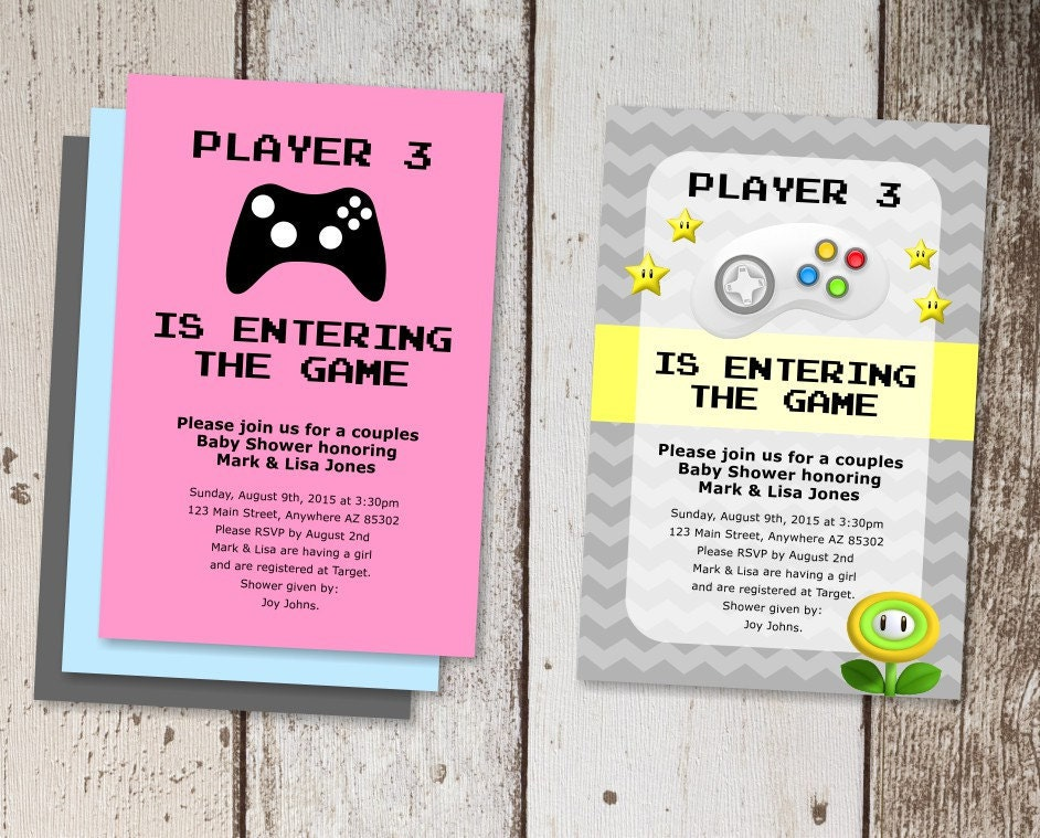 Video Game Baby Shower Invitation