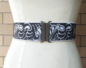 2 inch Blck/off white belt,Elastic belt,Stretch Belt,Cinch BeltWaist belt, Elastic waist belt,Waist belt -(JF)370/000