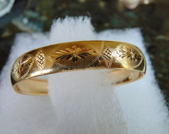 Gorgeous 14K Solid Gold Etched Cuff Bracelet