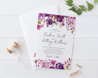 Printable Purple Flower Wedding Invitation Set, Purple Rose Wedding Invitation Set, Purple Peonies Wedding Invitation Set