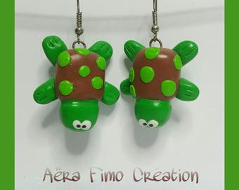 "Earrings in polymer clay ""Turtle of water"""