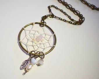 ROSE QUARTZ Feather Dreamcatcher Necklace