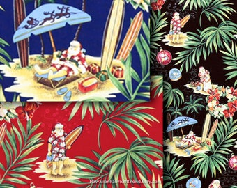 Christmas Fabric Hawaiian Santa Claus Surfing in Tropical, Navy Red Black HCN10151/10152/10153 Ask for Bulk