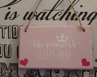 The Princess Sleeps Here Door Plaque, Door Hanging For Her Room, Baby Girls Gift, Nursery Room Decor, Pink Wall Hanging, Cute Girlie Signs