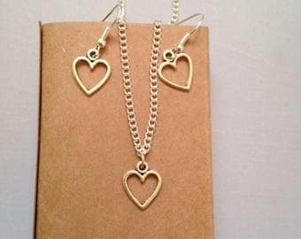 Heart Jewellery Gift Set, Heart Charms, Heart Dangle Earrings, Heart Pendant Chain, Gift Box Jewellery, Heart Fashion Accessories