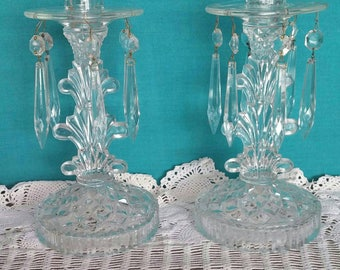 Elegant Glass Candlesticks with hanging crystals