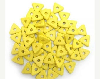SALE 15% OFF 60 ceramic triangles, yellow, 10mm, 60 PCs, ceramic beads, ceramic triangles, square, triangular beads ceramic beads, yellow sp